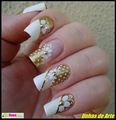 Wedding Nails For Bride Acrylic Maxi Dresses 46 Ideas Trendy Nail Art, New Nail Art, Bride Nails, Wedding Nails, Hot Nails, Hair And Nails, Flower Nail Art, Super Nails, Fancy Nails