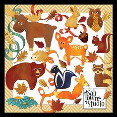 Thursday's Guest Freebies ~ Salt Town Studio  ✿ Follow the Free Digital Scrapbook board for daily freebies: https://www.pinterest.com/sherylcsjohnson/free-digital-scrapbook/ ✿ Visit GrannyEnchanted.Com for thousands of digital scrapbook freebies. ✿ Autumn Woodland Creatures Moose, Bear, Deer, Skunk, Raccoon, Squirrel, fox, rabbit, owl, hedgehog, acorn, ribbon, flowers, leaves