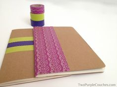 20 Creative Washi Tape Ideas - Make personalized notebooks by lining the covers with washi tape.