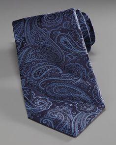 Stefano Ricci Paisley Silk Tie, Black/Blue - Bergdorf Goodman