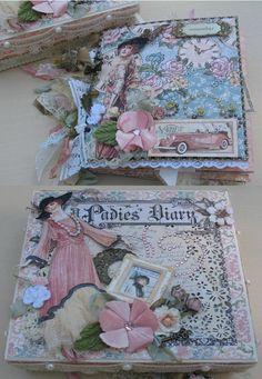 Premade Vintage Scrapbook Album and Keepsake Box, A Ladies Diary.