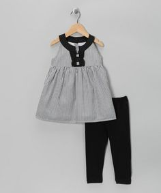 Loving this Black Stripe Tunic & Leggings - Toddler on #zulily! #zulilyfinds