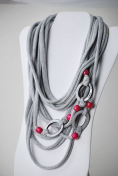 upcycled gray and magenta t shirt necklace by six20tees on Etsy