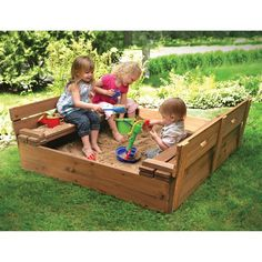 Don't let your kids play in the dirt. Get them the ultimate sandbox. The Badger Basket 09988 Convertible Cedar Sandbox with Two Bench Seats - Sporting Goods Central
