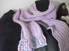 Purple hand knitted scarf  my own design. by JustAskJackie on Etsy, $35.00