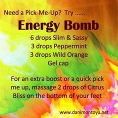 Need a quick burst of energy? Try this Essential Oil Energy Bomb made with doTERRA Oils. -- Buy dōTERRA essential oils online at www.mydoterra.com/suzysholar, or contact me for more info. by sabrina