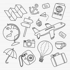 Bullet Journal Travel, Bullet Journal Writing, Bullet Journal Ideas Pages, Bullet Journal Inspiration, Mini Drawings, Doodle Drawings, Easy Drawings, Diy Sticker, Travel Doodles