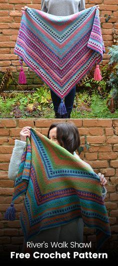River's Walk Shawl Free Crochet Pattern #crochet #crafts #yarn #homemade #handmade