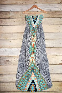 Tribal Print Tube Maxi Dress with Side Slit – Deep South Pout