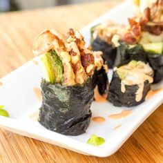 """""""The most epic sushi roll of all time -a home made soft shell crab spider roll with avocado, cucumber and alfalfa sprouts. No rice needed. Gluten Free and Dairy Free. Shellfish Recipes, Crab Recipes, Beef Recipes, Crab Sushi Roll, Sushi Rolls, Gluten Free Appetizers, Appetizer Recipes, Sushi Roll Recipes, Lunch Recipes"""