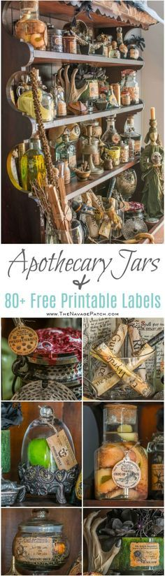 Apothecary Jars {and Free Printable Labels}   DIY Halloween decor   Harry Potter theme   Free Halloween printable with over 80 jar labels   Potions and spells   DIY Apothecary jars decor   DIY Halloween prop   Spooky and fun witches kitchen   Grimm - Rosalee's spice shop   TheNavagePatch.com