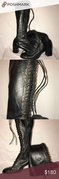 "Very rad leather sbicca witchy boots! Women's 8.5 I love these for a costume or any day! They are leather and they lace up the front and also zip up the side. Heel is 2.5"" high and the actual boot is knee high 18.5"" tall. They are a true 8.5 women's  🖤 Thank you for supporting me and helping me pay for college! All items are shipped within two days. Let me know if you want your item wrapped as a gift! 🖤 Sbicca Shoes Lace Up Boots"