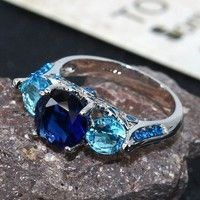 Wish | Hot Twinkle Jewelry Gift Unisex Charm 925 sterling silver Blue Sapphire Wedding Rings Sz 6-10