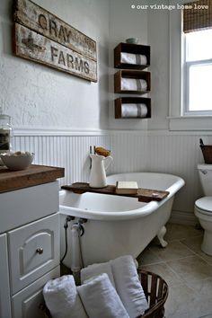 our vintage home love: Farmhouse Bathroom --- need to make a tub board like this...