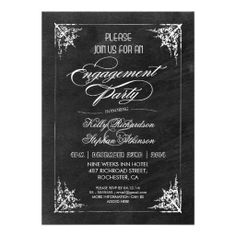 vintage chalkboard engagement party invitations
