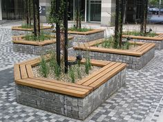 Gabion seating made from 58mm thick Air Dried Oak in 2mt sections