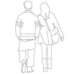 Pair walking away II Outline Drawings, Easy Drawings, Render People, People Figures, Embroidery Bags, Figure Drawing Reference, Digital Painting Tutorials, Black Aesthetic Wallpaper, School Art Projects