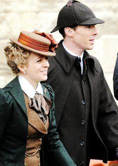 Amanda Abbington and Benedict Cumberbatch leave Gloucester Cathedral after filming a Sherlock Christmas special on January 22, 2015.