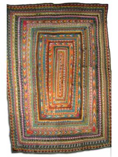 Antique Ralli hand embroidered cotton quilt from the Sindh region in Pakistan.