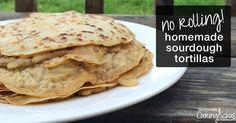 {No-Rolling Required} Homemade Sourdough Tortillas Vegan Mexican Recipes, Real Food Recipes, Vegan Recipes, Cooking Recipes, Sourdough Tortillas Recipe, Sourdough Recipes, Bread Recipes, Sourdough Bread, Tortilla Recipe