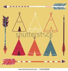Stock vector teepee tents and arrows hipster style