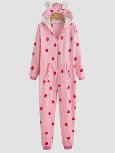 Plus Size Plush Jumpsuits Pajamas Fruits Print Casual Striped Hooded Front Zipper Sleepwear Funny Pajamas, Best Pajamas, Plus Size Jumpsuit, Jumpsuit Dress, Sleepwear Women, Pajamas Women, Pyjamas, Geek Underwear, Pajama Day