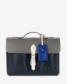Color block leather satchel - Gunmetal | Bags | Ted Baker