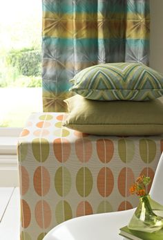 Paintbox Promise from Montgomery Decor Blinds, Curtains With Blinds, Zigzag Line, Shop Interior Design, Ottoman, Chair, Origami, Furniture, Fabric