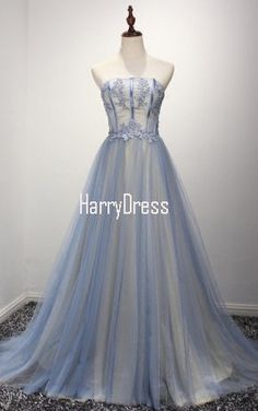 Princess Strapless Tulle Sweep Train Appliques Lace Light Blue Prom Dress