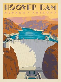Vintage Stuff and Antique Designs Poster Retro, Vintage Travel Posters, Voyage Usa, National Park Posters, Nevada, Hoover Dam, Photo Vintage, Illustration, Parcs