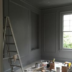 #nofilter pleased with how this gray turned out in my client's library #interiordesign #design #theperfectgray SHERWIN WILLIAMS SUMMIT GREY