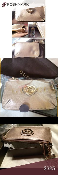 """💰⬇️Gucci leather key case NEW Heart shaped interlocking G detail in gold Zip top closure  4.7"""" wide 2.5"""" high 💯 Authentic (most receipts have been posted).  🚫No trades  🚫NO OFFERS WILL BE ACCEPTED ON MARKED DOWN ITEMS ❣️Please be kind as that's what you'll get in return ☮️Thanks for the opportunity to share my goods w/ u Gucci Bags Clutches & Wristlets"""