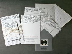 Love all the fun sayings on these invites. Design by Nichole Tremblay. Letterpress printing by Studio on Fire.