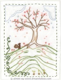 a PDF pattern based on original embroidery art by Aimee Ray    This embroidery is featured on page 20 of my book, Doodle Stitching, but the pattern is