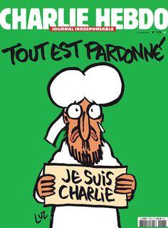 """Charlie Hebdo cover by LUZ, Jan. 16, 2015, """"Tout est pardonné"""", Paris. First publication after Paris events of January 7, 2015. #CharlieHebdo #JeSuisCharlie"""