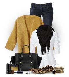 """""""Fall Outfit"""" by cynthia335 ❤ liked on Polyvore featuring Hudson Jeans, H&M, Steffen Schraut, Zara, Tory Burch, Stephan & Co. and NARS Cosmetics"""