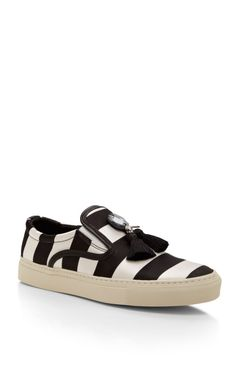 Achilles Satin Striped Sneakers with Tassels by Mother of Pearl Now Available on Moda Operandi