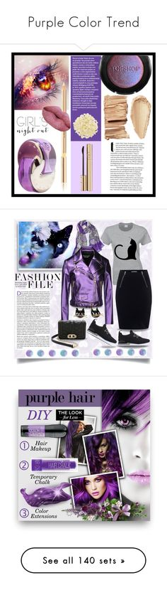 """""""Purple Color Trend"""" by yours-styling-best-friend ❤ liked on Polyvore featuring purple, beauty, Topshop, Bulgari, Dolce&Gabbana, African Botanics, gold, Pink, Nexus and Tory Burch"""