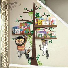 Max and Monsters Hanging on the trees Where the Wild Things Are Wo die wilden Kerle sind Carol & Max am Baum Baby Playroom, Baby Boy Rooms, Baby Boy Nurseries, Baby Boys, Kids Rooms, Playroom Mural, Playroom Organization, Playroom Ideas, Boy Nursery Themes
