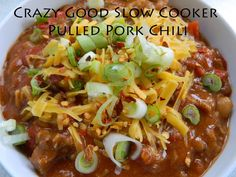 Crazy Good Slow Cooker Pulled Pork Chili & Delectable Chipotle Cheddar & Bacon Corn Bread