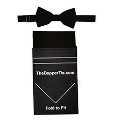 Men's Black Banded Bow Tie With Black Flat Pre Folded Pocket Square on Card