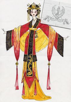 Asian garment inspired fashion illustration  Note: * colour and drawing of tassels           - yellow+red to unify with the dress * accessories           - head piece and shawl