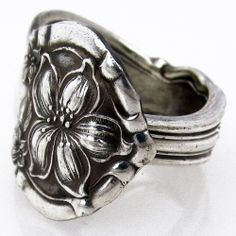 This stunning handmade Orange Blossom antique silver spoon ring would be an excellent addition to your jewelry box!
