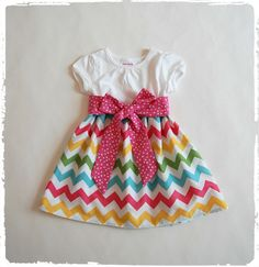 Spring dress Rainbow Chevron dress Toddler girls by DressAvenue, $32.00 Easter Dresses For Toddlers, Toddler Girl Dresses, Little Girl Dresses, Girls Dresses, Toddler Girls, Rainbow Chevron, Green Chevron, Blue Green, Pink Yellow