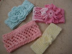(6) Name: 'Knitting : Four New Knit Baby Headbands