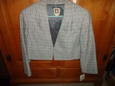 Vintage NOS NWT Ladies Anne Klein Short Crop L/S Jacket. Tweed. MSRP $179. 14 #AnneKlein #CropJacket