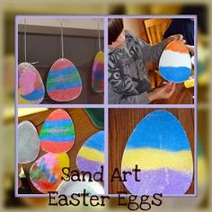 Sand Art Easter Eggs a simple a fun Easter craft idea for kids. Easy Easter Crafts, Egg Crafts, Crafts For Kids, Arts And Crafts, Easter Ideas, Easter Decor, Art Journal Pages, Spring Crafts, Holiday Crafts