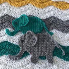 Crochet Elephant Applique Pattern; Jungle Nursery Crochet Pattern