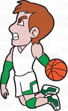 A Male Basketball Player About To Do A Slam Dunk #cartoon #clipart #vector #vectortoons #stockimage #stockart #art