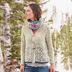 """MOONLIT SHADOWS CARDIGAN--A delicate pattern in subtly flecked yarn transitions gracefully like ombré shadows in our elbow-patch cardigan with hidden placket and rolled hem. Acrylic/wool/nylon/alpaca. Hand wash. Imported. Exclusive. Sizes XS (2), S (4 to 6), M (8 to 10), L (12 to 14), XL (16). Approx. 23""""L."""